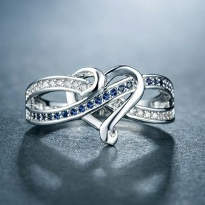 925 Silver Romantic Heart Blue Sapphire Ring